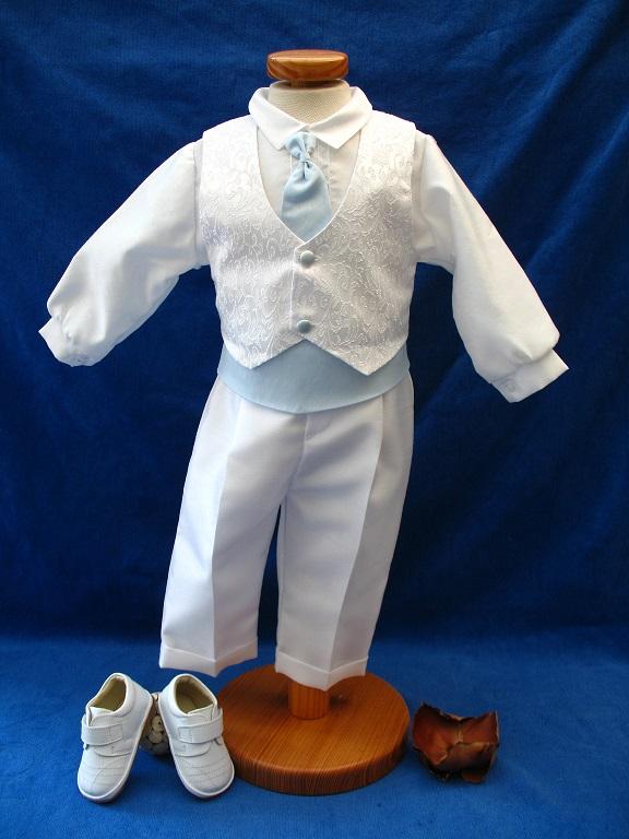 471e3769202fa Costume manche longue Garçon Blanc Bleu - Coup de coeur pour cette tenue de  baptême ou