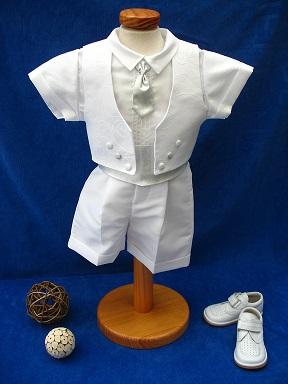 234554ee386 Costume tenue baptême Blanc Argenté 5 pièces - Tenue cérémonie Réf. ...