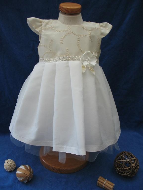 431eb7c0bde99 Robe de cérémonie Blanc cassé Perle manche courte simple et raffiné Réf.  Chloé - Boutique